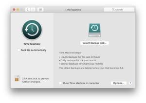Time Machine backup macOS